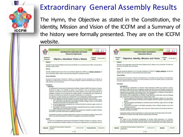REPORT GENERAL ASSEMBLY ICCFM 2014