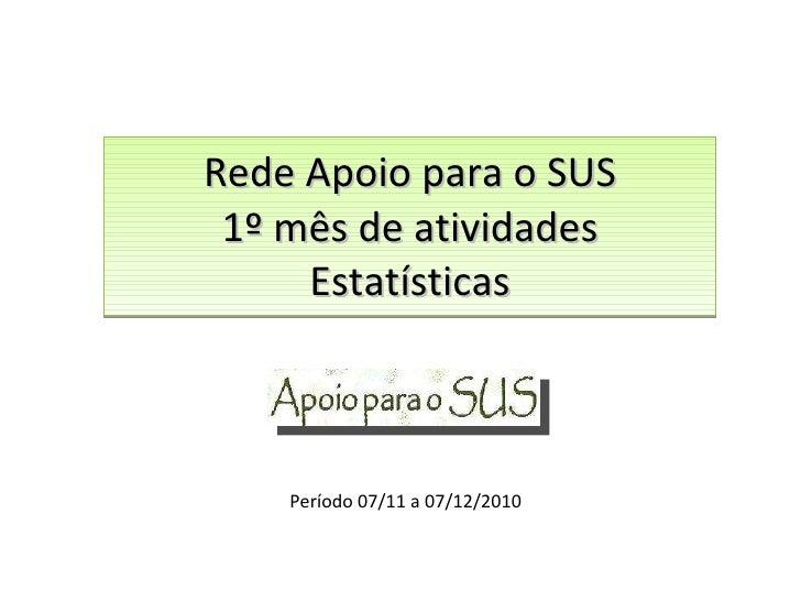 Rede Apoio para o SUS 1º mês de atividades Estatísticas Período 07/11 a 07/12/2010