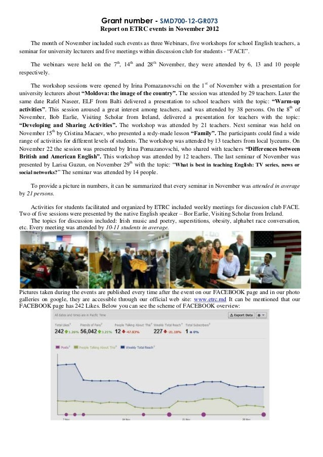 Grant number - SMD700-12-GR073                                 Report on ETRC events in November 2012    The month of Nove...
