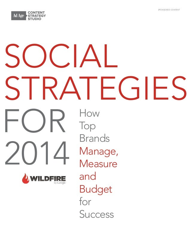 SPONSORED CONTENT  Social Strategies FOR 2014 How Top Brands Manage, Measure and Budget for Success