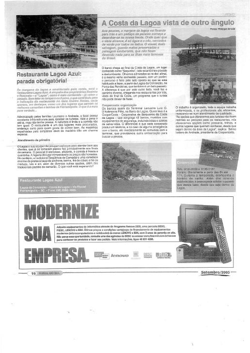 Reportagens de jornais sobre a Costa da Lagoa