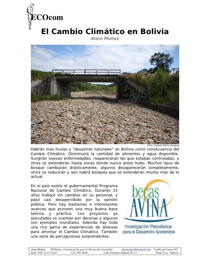 ECOcom         El Cambio Climático en Bolivia                                                 Alain Muñoz                 ...