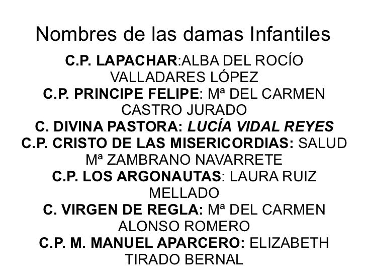 Nombres de las damas Infantiles C.P. LAPACHAR :ALBA DEL ROCÍO VALLADARES LÓPEZ C.P. PRINCIPE FELIPE : Mª DEL CARMEN CASTRO...