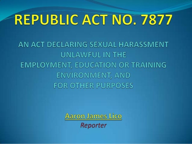 Anti sexual harassment act 1995 philippines