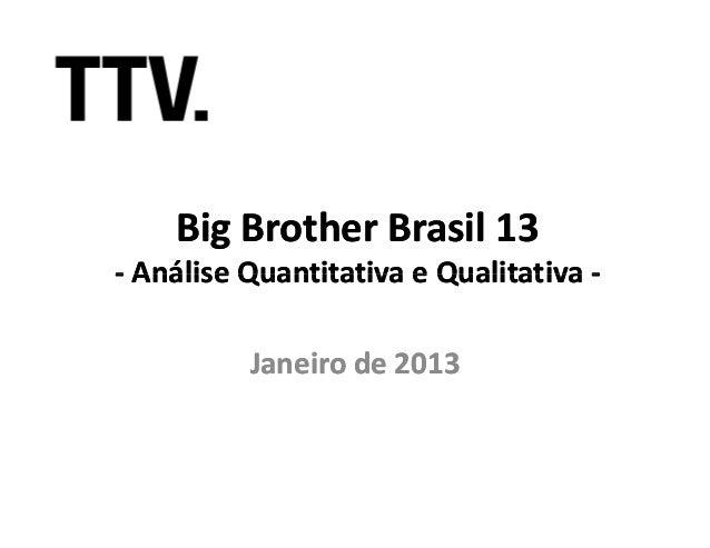 Big Brother Brasil 13- Análise Quantitativa e Qualitativa -          Janeiro de 2013