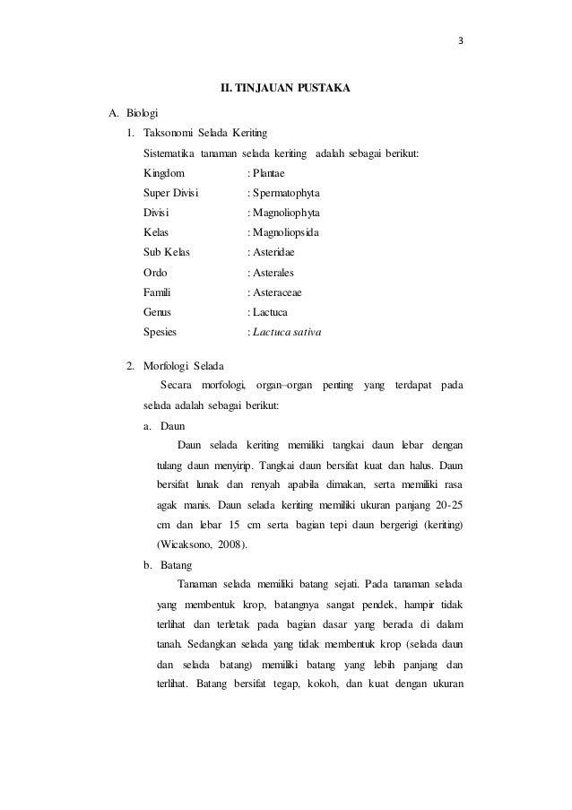 3  II. TINJAUAN PUSTAKA  A. Biologi  1. Taksonomi Selada Keriting  Sistematika tanaman selada keriting adalah sebagai beri...