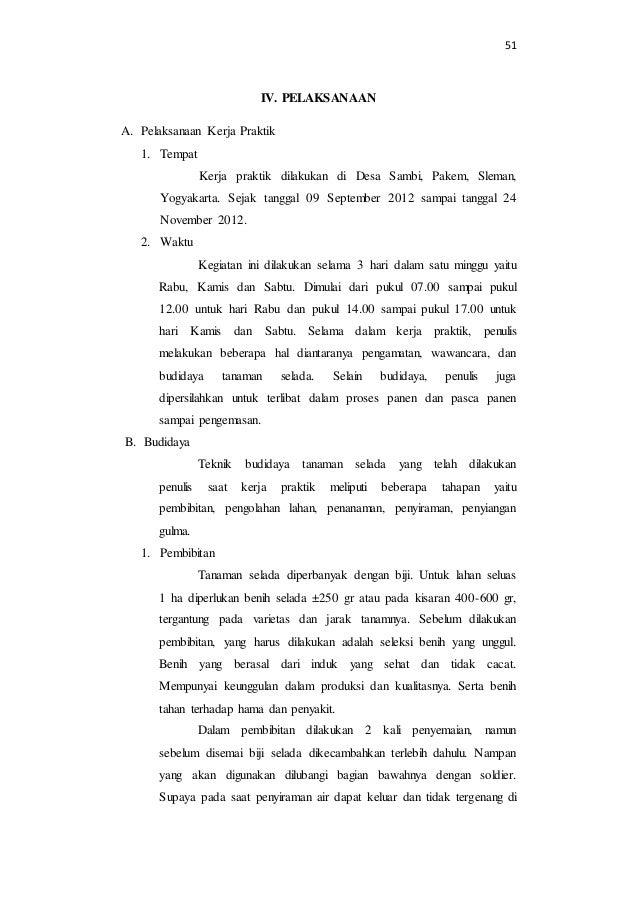 51  IV. PELAKSANAAN  A. Pelaksanaan Kerja Praktik  1. Tempat  Kerja praktik dilakukan di Desa Sambi, Pakem, Sleman,  Yogya...
