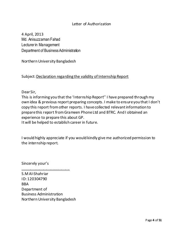 Report on grameen phone northern university bangladesh 4 page 4 of 51 letter of authorization spiritdancerdesigns Choice Image