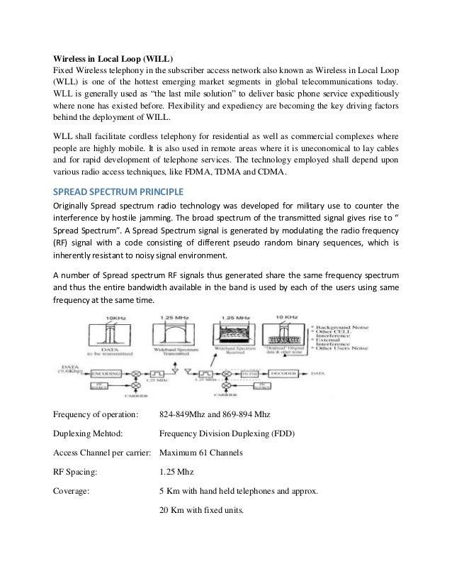 Wireless local loop research papers recent
