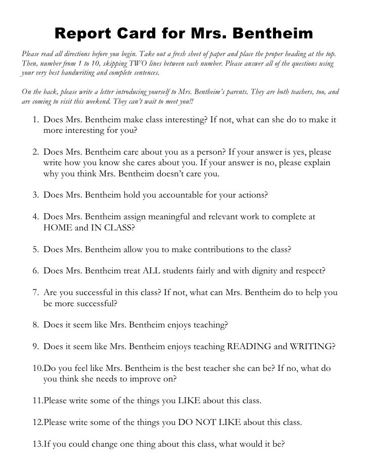 Report Card for Mrs. Bentheim Please read all directions before you begin. Take out a fresh sheet of paper and place the p...