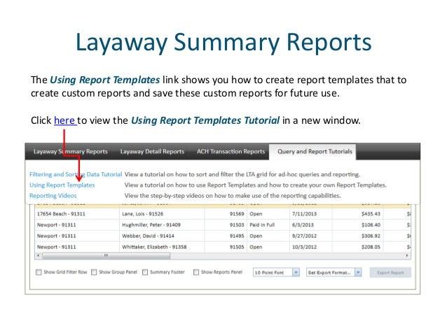 report center tutorial