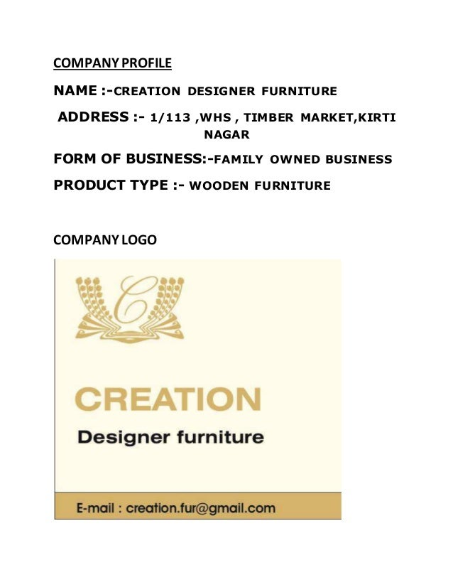 Amazing COMPANY PROFILE NAME : CREATION DESIGNER FURNITURE ...