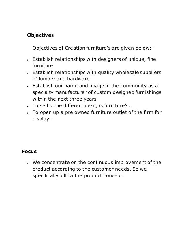 5. Objectives Objectives Of Creation Furnitureu0027s ...