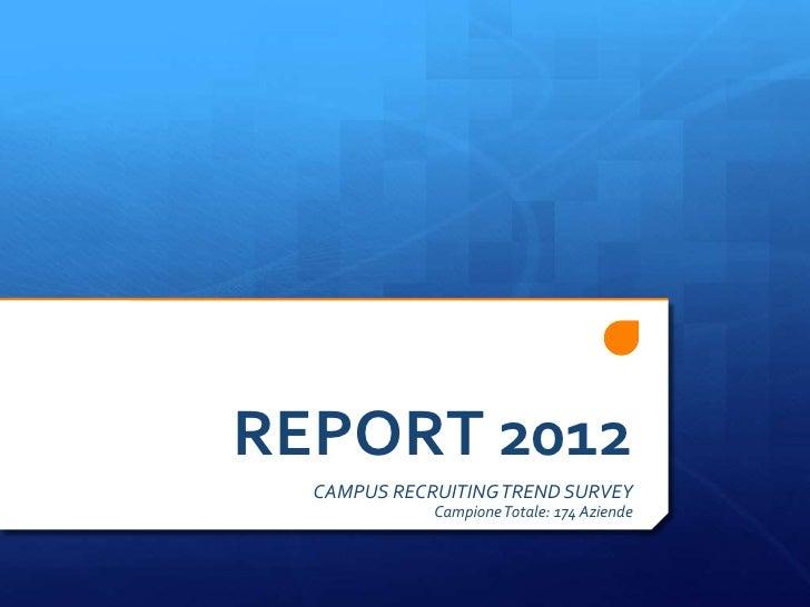 REPORT 2012  CAMPUS RECRUITING TREND SURVEY             Campione Totale: 174 Aziende