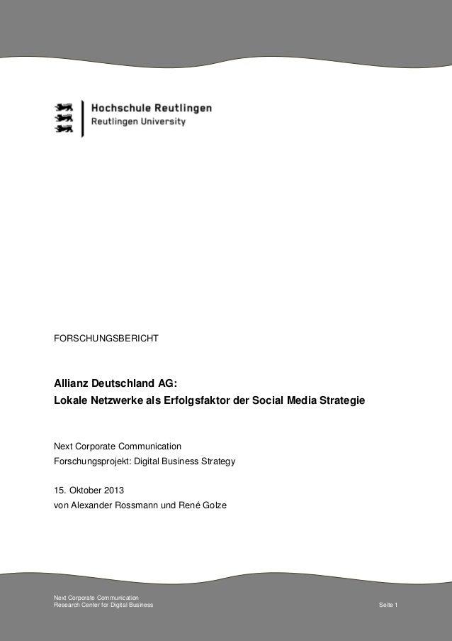 FORSCHUNGSBERICHT  Allianz Deutschland AG: Lokale Netzwerke als Erfolgsfaktor der Social Media Strategie  Next Corporate C...