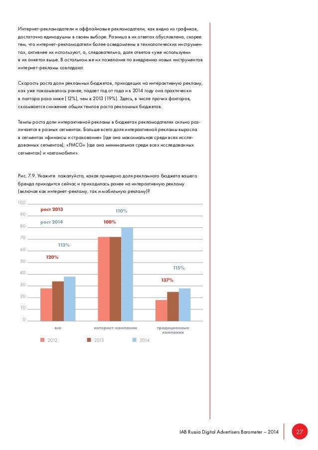 IAB Russia Digital Advertisers Barometer – 2014 27  Интернет-рекламодатели и оффлайновые рекламодатели, как видно из графи...