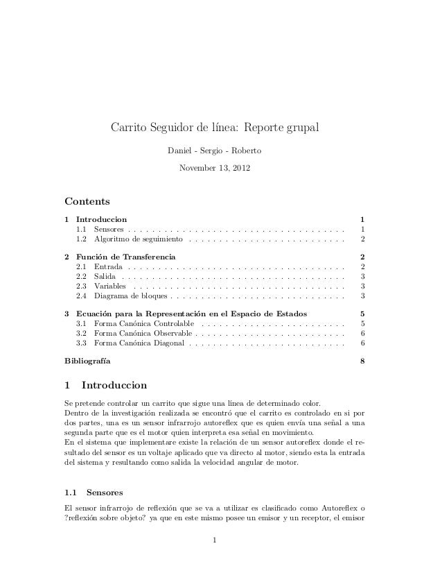 Carrito Seguidor de l´                                    ınea: Reporte grupal                               Daniel - Serg...