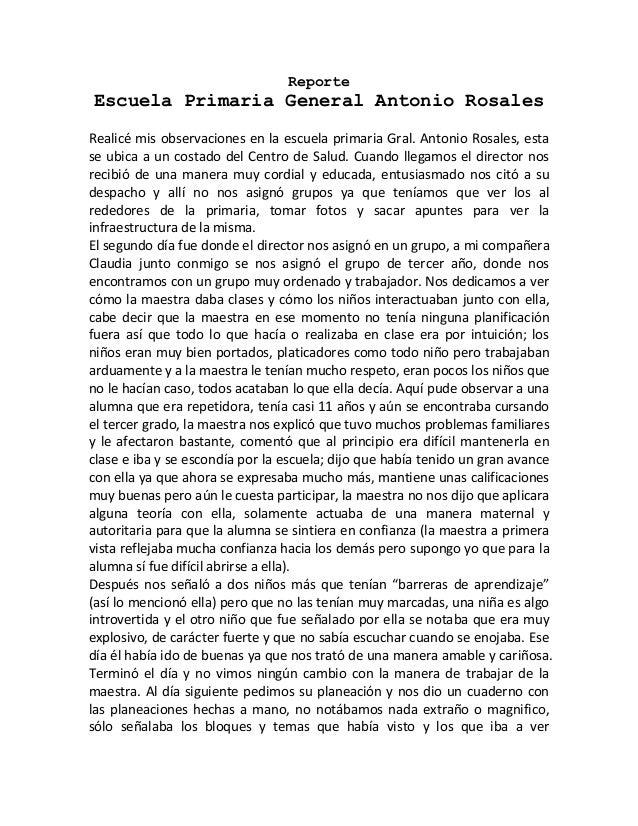 ReporteEscuela Primaria General Antonio RosalesRealicé mis observaciones en la escuela primaria Gral. Antonio Rosales, est...