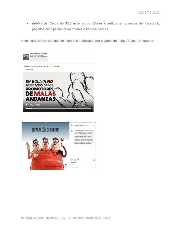 AGOSTO 2020 ● Publicidad: Cerca de $3.6 millones de dólares invertidos en anuncios de Facebook, pagados principalmente en...