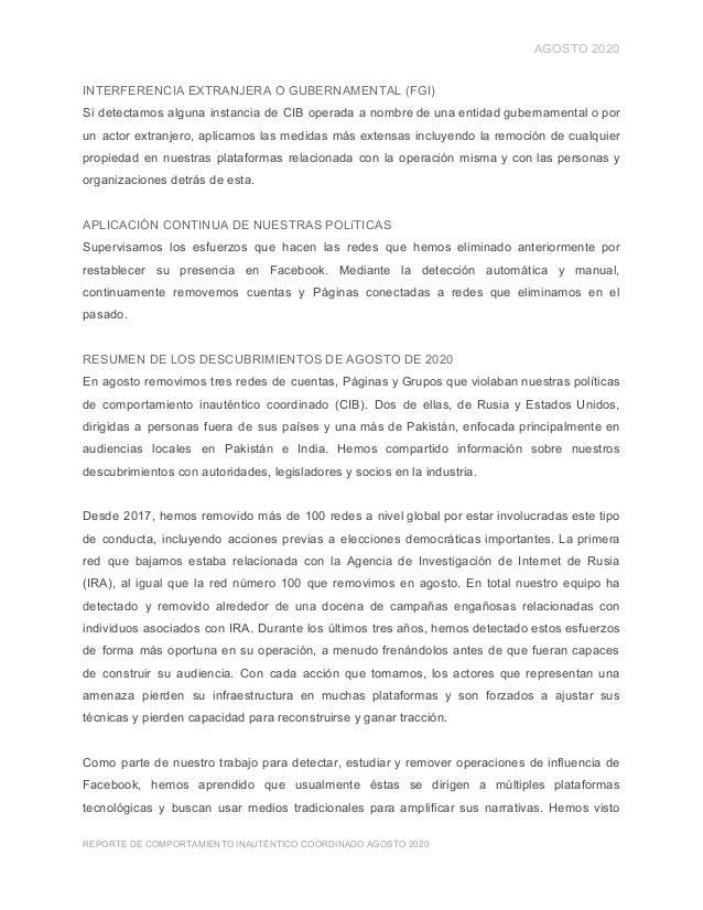 AGOSTO 2020 INTERFERENCIA EXTRANJERA O GUBERNAMENTAL (FGI) Si detectamos alguna instancia de CIB operada a nombre de una e...