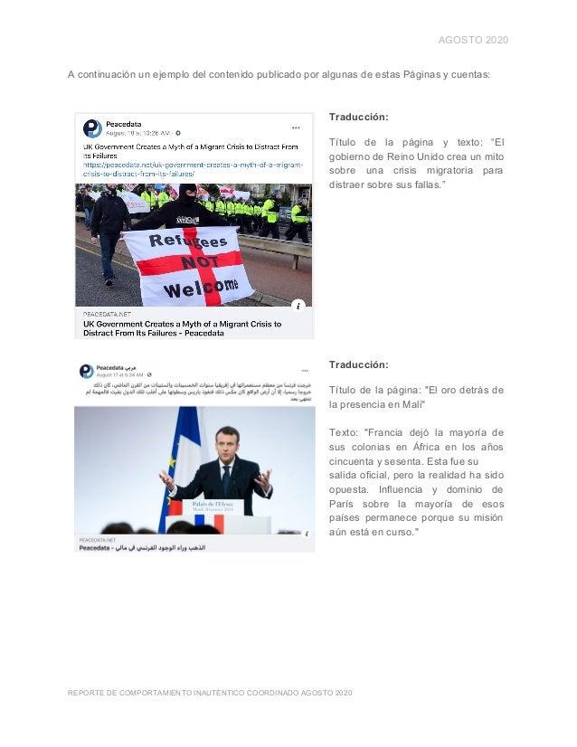 AGOSTO 2020 A continuación un ejemplo del contenido publicado por algunas de estas Páginas y cuentas: Traducción: Título d...