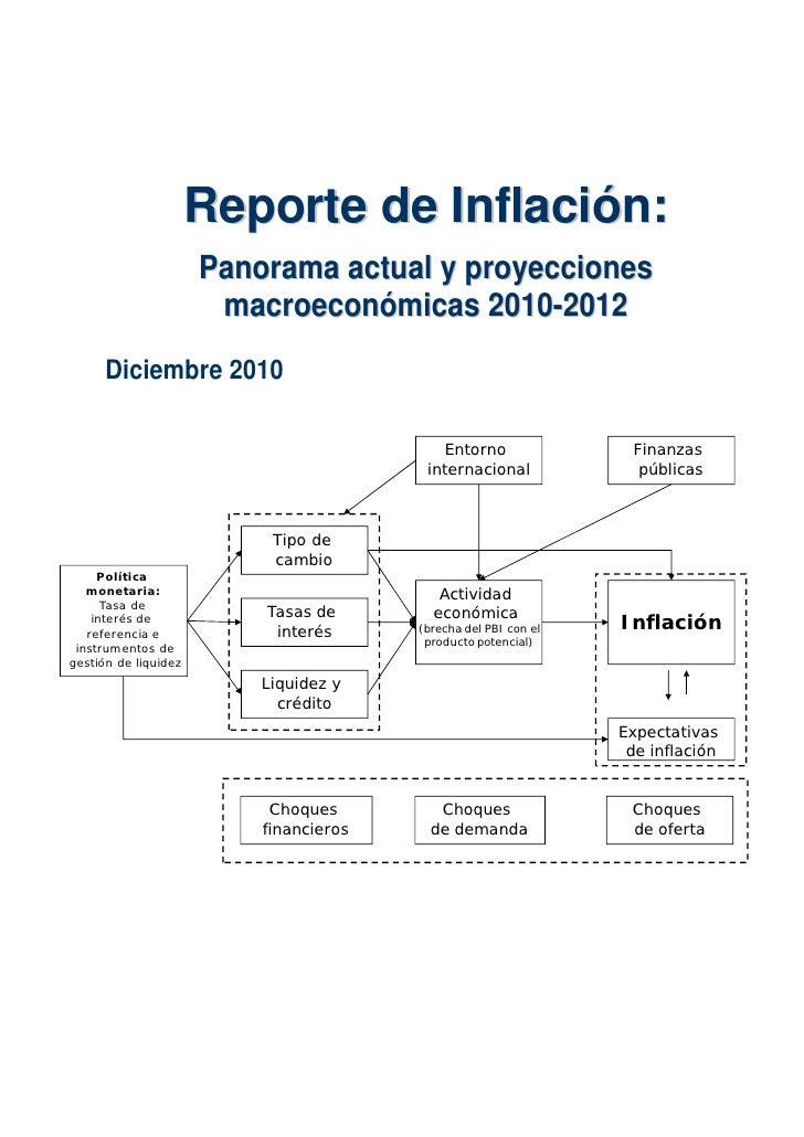 Reporte de Inflación:                      Pa n or a m a a c t ua l y pr o y e c c i o ne s                       m a c r ...