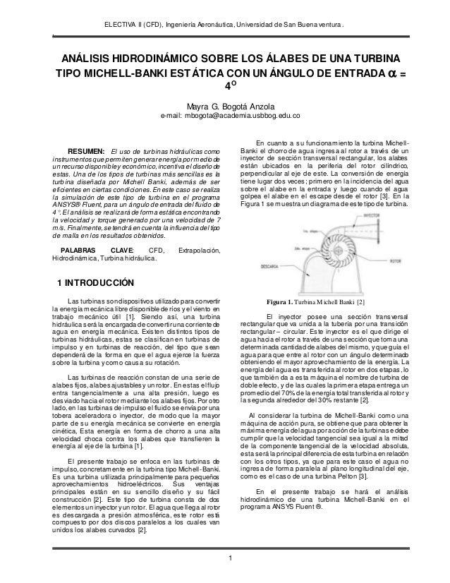 ELECTIVA II (CFD), Ingeniería Aeronáutica, Universidad de San Buena ventura. . 1 ANÁLISIS HIDRODINÁMICO SOBRE LOS ÁLABES D...