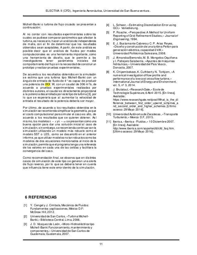 ELECTIVA II (CFD), Ingeniería Aeronáutica, Universidad de San Buena ventura. . 11 Michell-Banki o turbina de flujo cruzado...