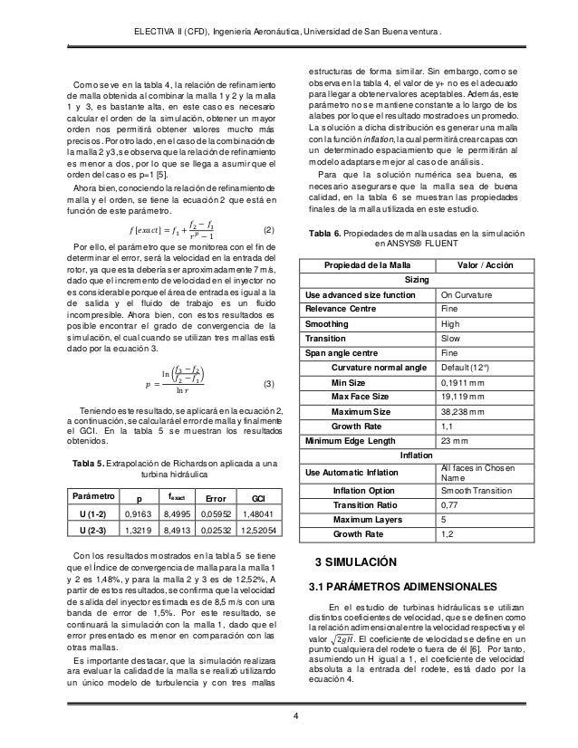 ELECTIVA II (CFD), Ingeniería Aeronáutica, Universidad de San Buena ventura. . 4 Como se ve en la tabla 4, la relación de ...