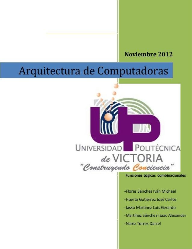 Noviembre 2012 Reporte Practica 1 Funciones Lógicas combinacionales -Flores Sánchez Iván Michael -Huerta Gutiérrez José Ca...