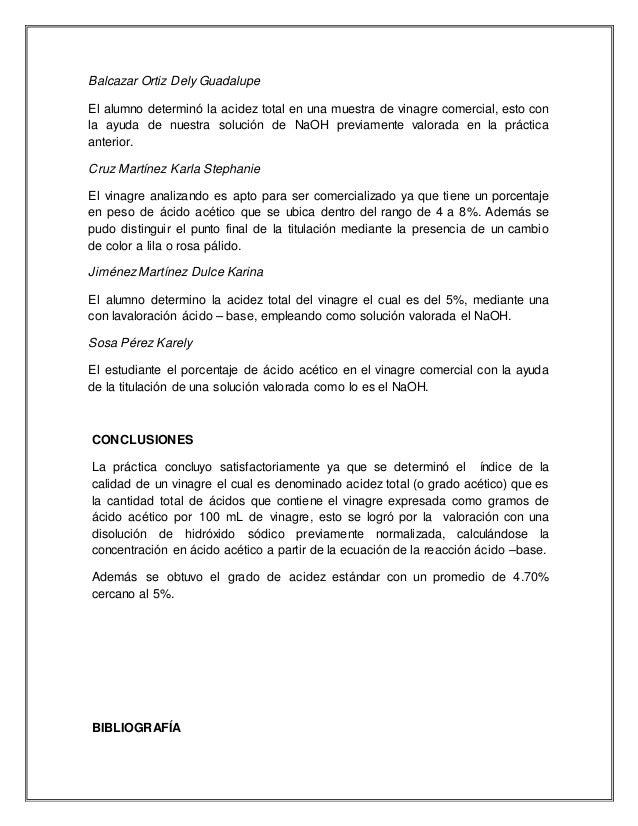 Balcazar Ortiz Dely Guadalupe El alumno determinó la acidez total en una muestra de vinagre comercial, esto con la ayuda d...