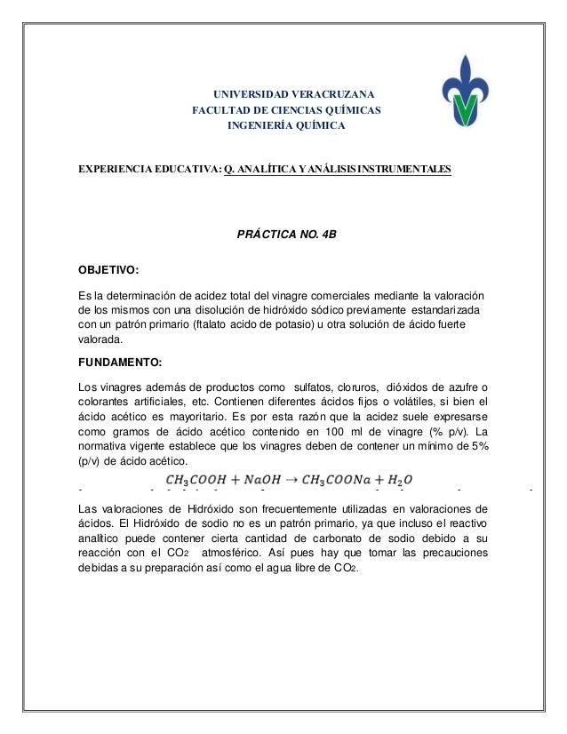 UNIVERSIDAD VERACRUZANA FACULTAD DE CIENCIAS QUÍMICAS INGENIERÍA QUÍMICA EXPERIENCIA EDUCATIVA: Q. ANALÍTICA YANÁLISISINST...