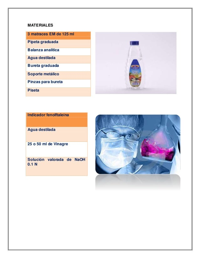 MATERIALES 3 matraces EM de 125 ml Pipeta graduada Balanza analítica Agua destilada Bureta graduada Soporte metálico Pinza...
