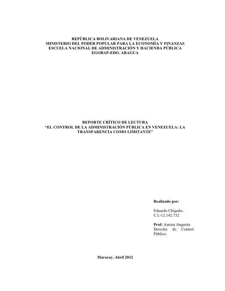 REPÚBLICA BOLIVARIANA DE VENEZUELAMINISTERIO DEL PODER POPULAR PARA LA ECONOMÍA Y FINANZAS ESCUELA NACIONAL DE ADMINISTRAC...