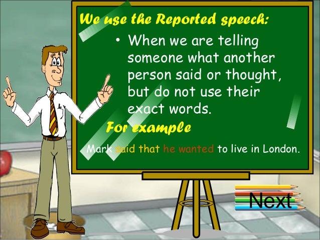Reported speech Slide 2