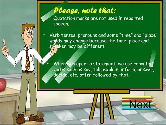 Reported speech Slide 3