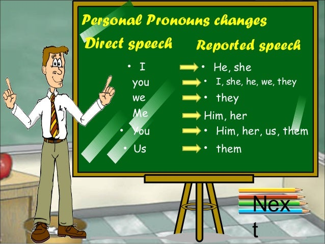 Personal Pronouns changes Direct speech Reported speech • I • He, she you • I, she, he, we, they we • they Me Him, her • Y...