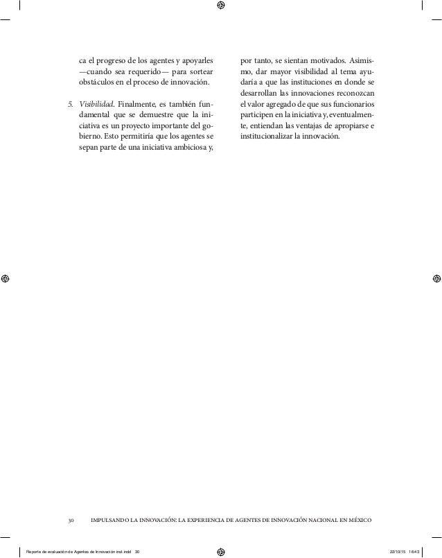 impulsandolainnovación:laexperienciadeagentesdeinnovaciónnacionalenméxico30 ca el progreso de los agentes y apoyarles —cua...