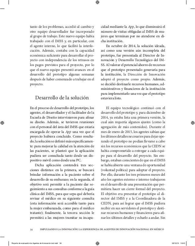 impulsandolainnovación:laexperienciadeagentesdeinnovaciónnacionalenméxico34 tanto de los problemas, accedió al cambio y ot...