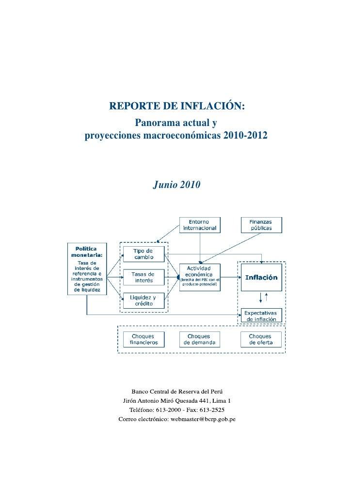 Panorama actual y proyecciones macroeconómicas 2010-2012                  Junio 2010