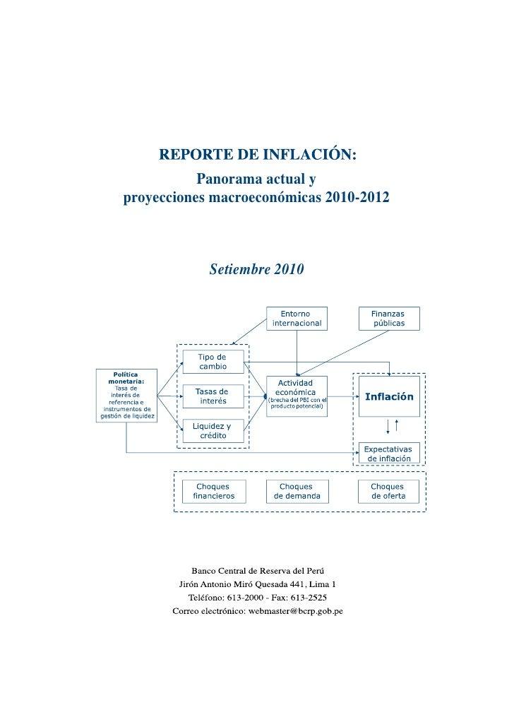 Panorama actual y proyecciones macroeconómicas 2010-2012                Setiembre 2010