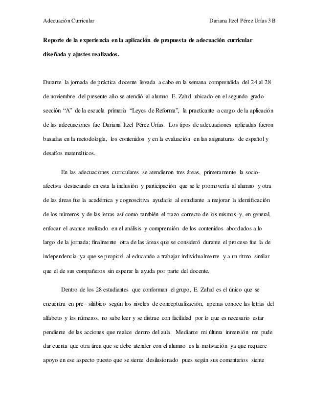 Adecuación Curricular Dariana Itzel Pérez Urías 3 B  Reporte de la experiencia en la aplicación de propuesta de adecuación...