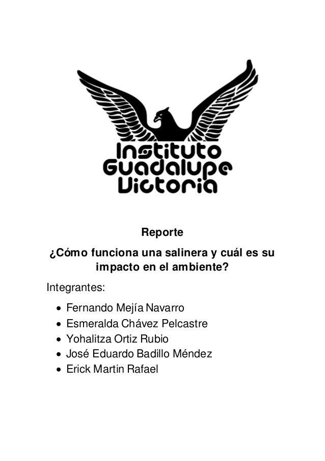 Reporte  ¿Cómo funciona una salinera y cuál es su  impacto en el ambiente?  Integrantes:   Fernando Mejía Navarro   Esme...