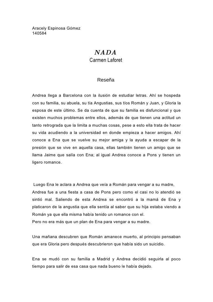 Aracely Espinosa Gómez 140584                                    NADA                               Carmen Laforet        ...