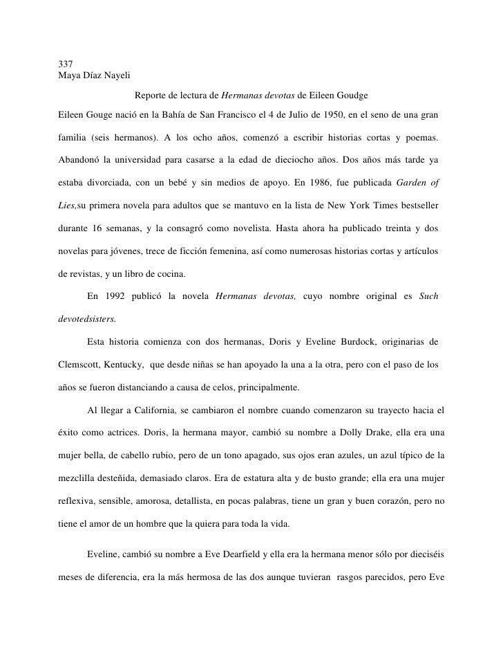 337Maya Díaz Nayeli                    Reporte de lectura de Hermanas devotas de Eileen GoudgeEileen Gouge nació en la Bah...