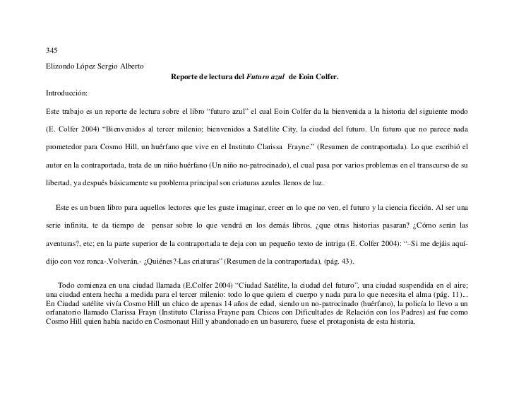 345Elizondo López Sergio Alberto                                        Reporte de lectura del Futuro azul de Eoin Colfer....