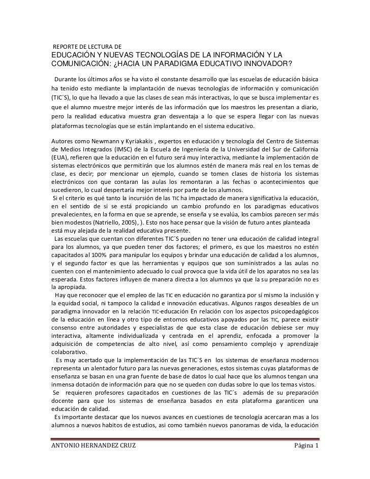 REPORTE DE LECTURA DEEDUCACIÓN Y NUEVAS TECNOLOGÍAS DE LA INFORMACIÓN Y LACOMUNICACIÓN: ¿HACIA UN PARADIGMA EDUCATIVO INNO...