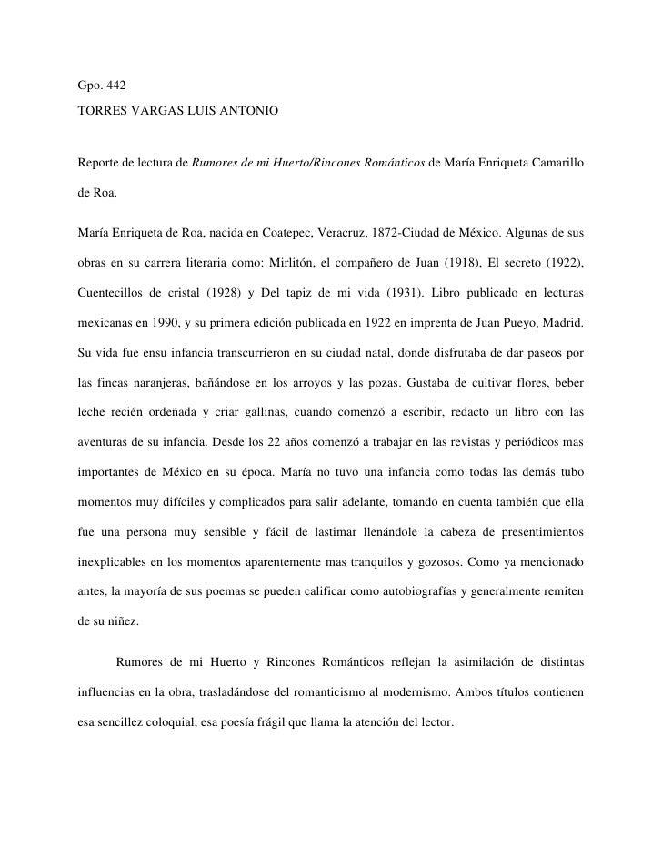 Gpo. 442TORRES VARGAS LUIS ANTONIOReporte de lectura de Rumores de mi Huerto/Rincones Románticos de María Enriqueta Camari...