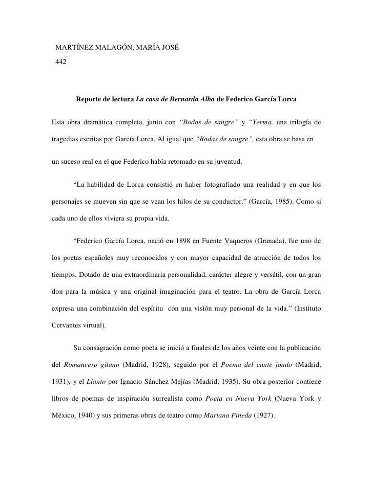 MARTÍNEZ MALAGÓN, MARÍA JOSÉ 442        Reporte de lectura La casa de Bernarda Alba de Federico García LorcaEsta obra dram...