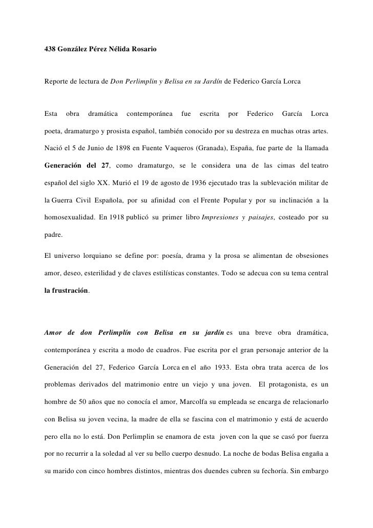 438 González Pérez Nélida RosarioReporte de lectura de Don Perlimplin y Belisa en su Jardín de Federico García LorcaEsta  ...